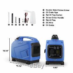 1250-Watts Peak Quiet Portable Inverter Generator LCD Gas Powered EPA CARB, Blue
