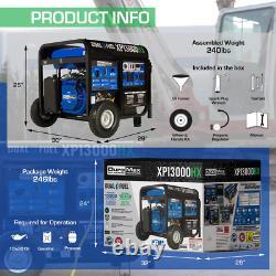 13,000-Watt/10,500-Watt-Push Button Start-Gas/Propane Powered-Portable Generator