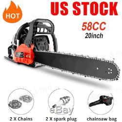 20'' Gas Chainsaw 58CC 2-Stroke Gas Powered Chain Saw for Cutting Wood Portable