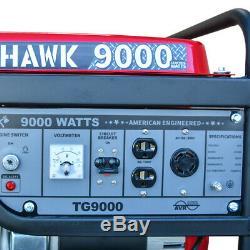 9000 Watt Generator Electric Start Gas Power Portable Home Use Residential Wheel