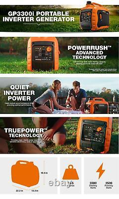 GENERAC 3300 Watt Inverter Generator Portable Light Super Quiet Gas Powered New