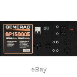 Generac 5734 GP15000E 15,000 Watt Electric Start Gas Powered Portable Generator