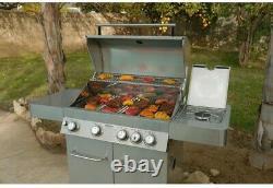 Monument Grills 4-Burner Propane Gas BBQ Grill 60K BTU Side Burner Rotisserie