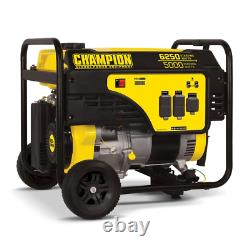 Portable Generator 6250/5000-Watt Oil Funnel Wheel Kit Gas Powered Recoil Start