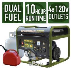 Portable Generator Dual Fuel Powered Runs on LPG or Regular Gas 4000/3500-Watt
