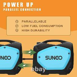 Portable Inverter Generator 2100W Peak Gas-Powered Super Quiet 120V Blue Black