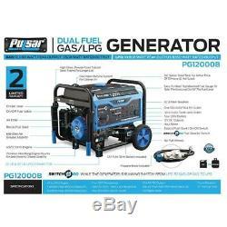 Pulsar 12,000-Watt Dual Fuel Gas Powered Electric Start Generator with Wheel Kit