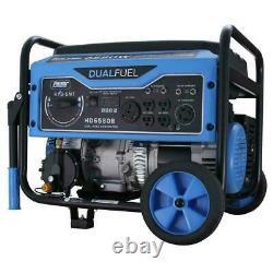 Pulsar 6,580-W Portable RV Ready Dual Fuel Gas Powered Generator with Wheel Kit