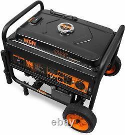 WEN 4,750-W Portable RV Ready Gas Powered Electric Start Generator with Wheel Kit