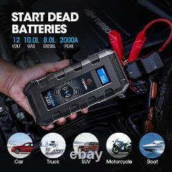 2000amp 12v 10l Gaz /8l Diesel Ultrasafe Lithium Jump Starter Battery Booster Us