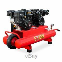6.5hp Gas Powered Compresseur D'air Brouette 10 Gallon Portable Double Réservoir 115psi