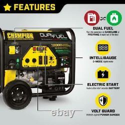 Champion 10,000-w Hybride Dual Fuel Powered Electric Start Générateur Portable