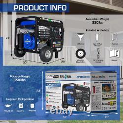 Duromax 10 000 Watts Portable Double Gaz Combustible Fonctionnant Avec Démarrage Électrique Générateur