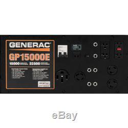 Generac Gp15000e Démarreur Électrique À Gaz Génératrice Portable Rallumée Puissant