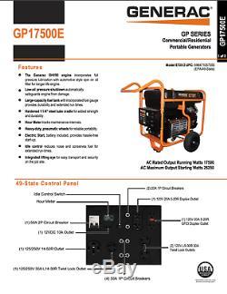 Generac Gp17500e Démarreur Électrique À Gaz Génératrice Portable Rallumée Puissant