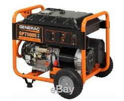 Generac Portable Generator 7500 Watts Gp7500e Gas Powered