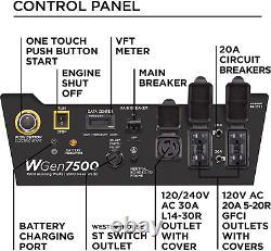 Wgen7500 Générateur Portable Avec Gaz De Démarrage Électrique À Distance Alimenté + Grand Unité